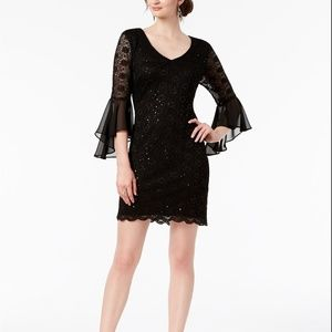 Connected Sequined Lace Bell-Sleeve Dress Black